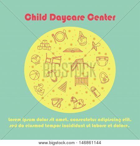 Vector card with baby thin line icons. Kindergarten vector logo. Diaper, sandpit, slide, horse, ball, bottle crib pacifier