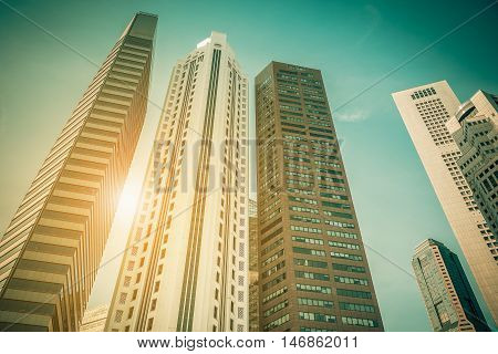 Singapore city skyline of business district downtown in daytime. Vintage tone