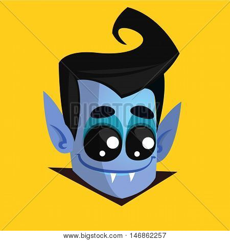 Vampire Face Colored Vector Icon. Halloween dracula head isolated on yellow