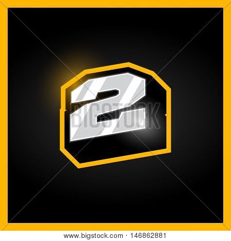 Retro Sport Style Alphabet Number Two, 2 For Logo, Titles, Monogram. Metal With Bold Outline Font