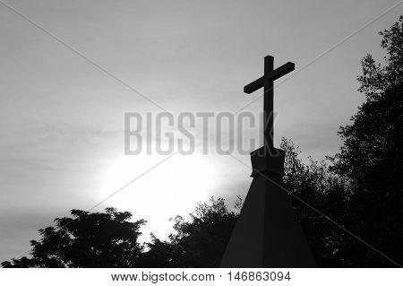 Christian cross symbol shape concept of religion metaphor to God Christ Christianity life religious faith holy spiritual Jesus belief orresurrection.
