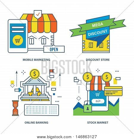 Concept of mobile marketing, discount store, online banking, stock market. Color Line icons collection.