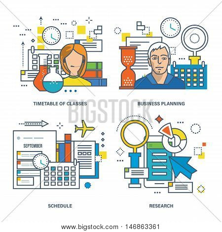 Concept of timetable of classes, business planning, training schedule, research. Color Line icons collection.