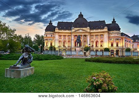 Bucharest City in Romania. University Library at Sunset.