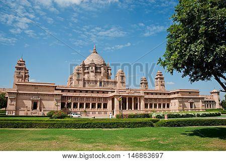 Umaid Bhawan palace hotel in Jodhpur in Rajasthan India