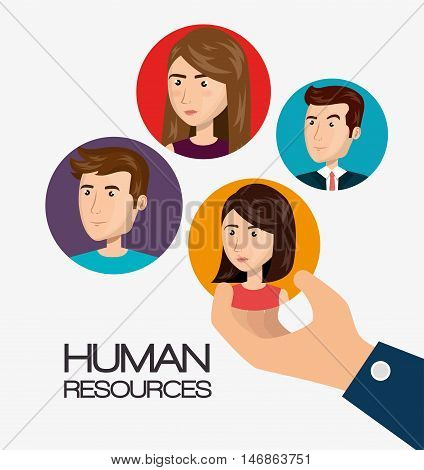 human resources recruit hired design isolated vector illustration eps 10