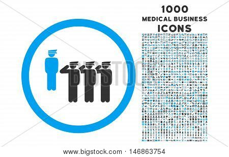 Army Squad rounded glyph bicolor icon with 1000 medical business icons. Set style is flat pictograms, blue and gray colors, white background.