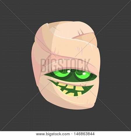 Cartoon smiling mummy face icon. Vector clip art illustration of mummy head for Halloween