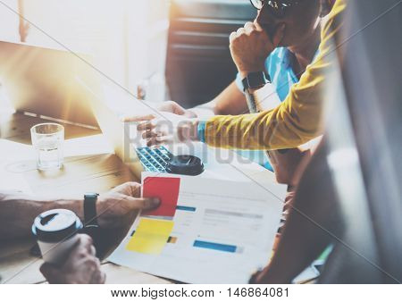 Coworkers Team Brainstorming Process Business Startup Online Markets.Manager Using Modern Electronic Gadgets.Creative People Teamwork Laptop New Project Wood Table.Blurred Background.Film Effect
