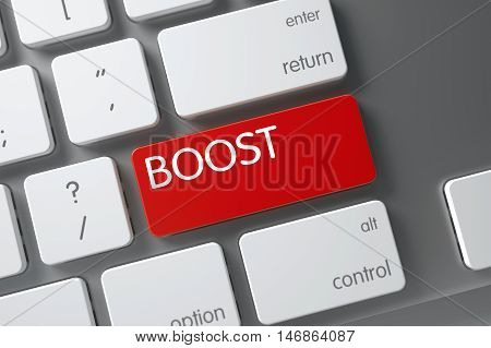 Boost Concept Computer Keyboard with Boost on Red Enter Keypad Background, Selected Focus. 3D Render.