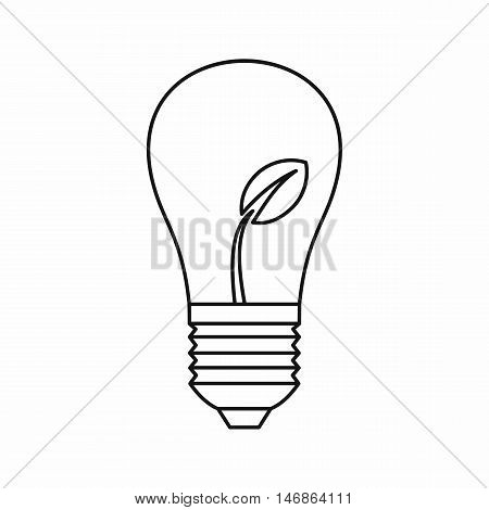 Light bulb with sprout icon in outline style on a white background vector illustration