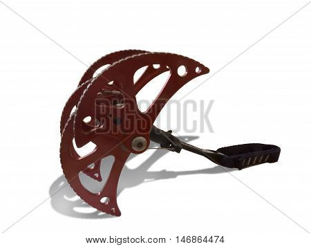 Spring-loaded climbing device. SLCD cam or friend. Rock climbing protection equipment. Isolated on white background.