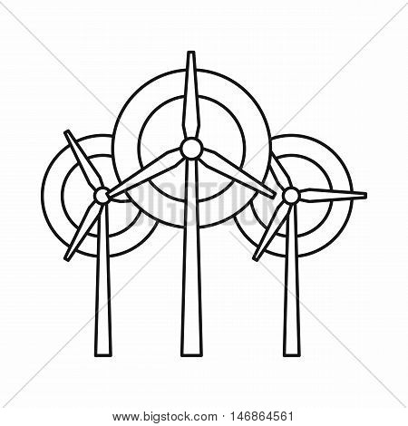 Wind generator turbines icon in outline style on a white background vector illustration