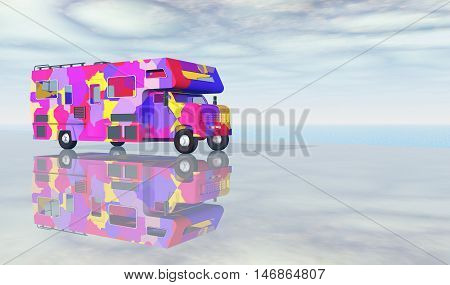 Computer generated 3D illustration with a recreational vehicle at the sea