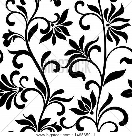 Seamless Pattern With Abctract Black Flowers On A White Background. Decorative Floral Vertical Patte