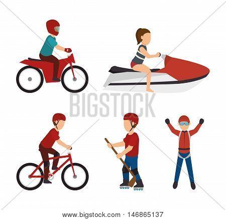 set extreme sports design isolated vector illustration eps 10