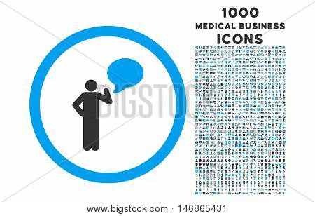 Person Idea rounded glyph bicolor icon with 1000 medical business icons. Set style is flat pictograms, blue and gray colors, white background.