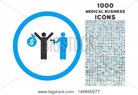 Robbery rounded glyph bicolor icon with 1000 medical business icons. Set style is flat pictograms, blue and gray colors, white background.
