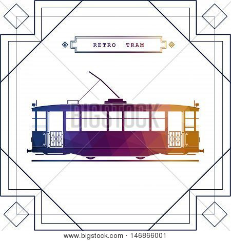 Multicolor retro vector tram car. Mass transit vintage graphic element on electric tramway car. Ideal for urban lifestyle touristic and sightseeing graphic and web design