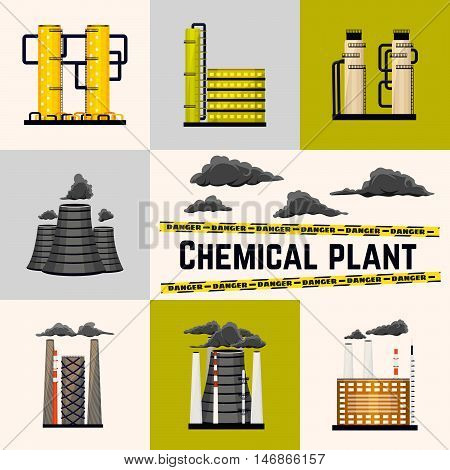 Set of industrial buildings producing energy for humans. Nuclear and power plants. Chemical manufacturing. Vector illustration