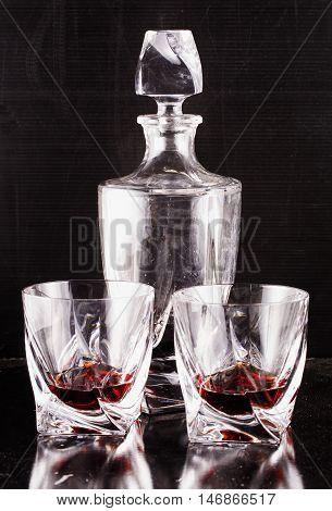 Liquor In Perfect Elegant Glasses And Bottle