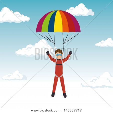 extreme sports skydiving design isolated vector illustration eps 10