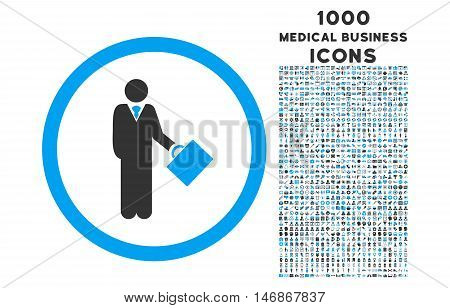 Businessman rounded vector bicolor icon with 1000 medical business icons. Set style is flat pictograms, blue and gray colors, white background.