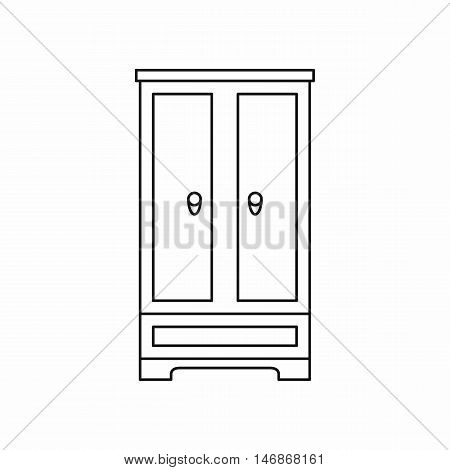Wardrobe icon in outline style on a white background vector illustration