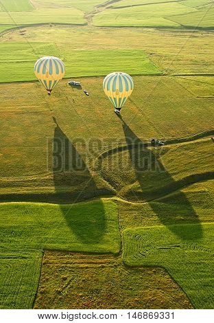 Landing balloon. Cappadocia is known around the world as one of the best places to fly with hot air balloons Goreme Cappadocia Turkey.