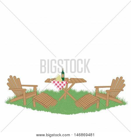 wine and grapes on a wooden garden table on the lawn