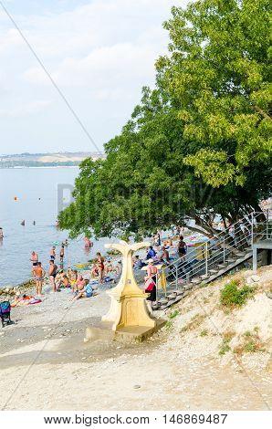 View from the promenade on the city beach. Gelendzhik Krasnodar Krai Russia.