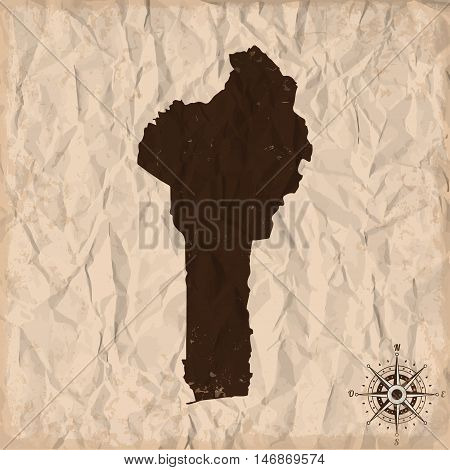 Benin old map with grunge and crumpled paper. Vector illustration