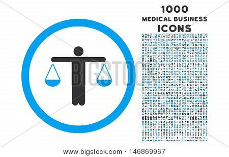 Lawyer rounded vector bicolor icon with 1000 medical business icons. Set style is flat pictograms, blue and gray colors, white background.