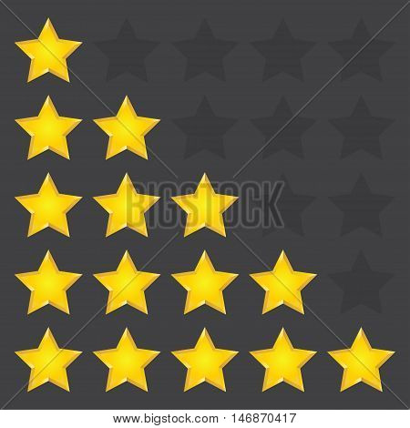 Simple rounded star rating. With outlines makes the stars pop out from background. Vector illustration EPS10