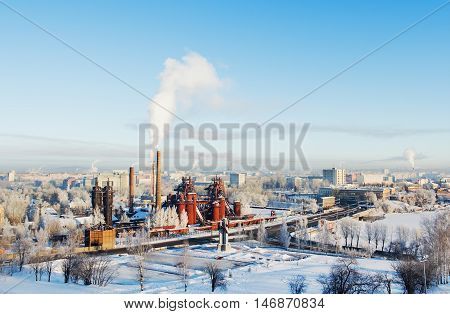 NIZHNY TAGIL RUSSIA - FEBRUARY 13 2016: Top view of the Plant Museum of the history of mining technology. The plant was founded by Demidov's dynasty in 1725.