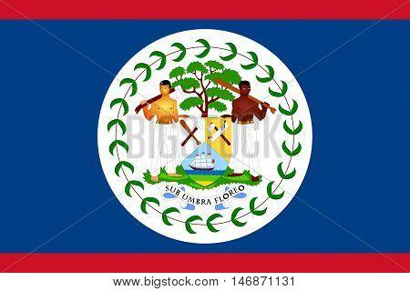 Illustration of the national  flag of Belize