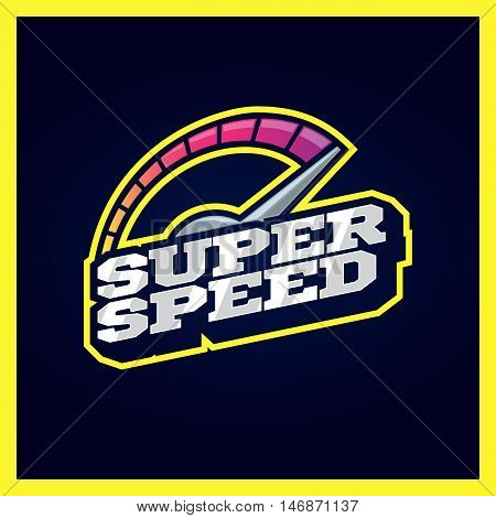 Speedometer Max Super Speed Logo. Retro Text Style Emblem