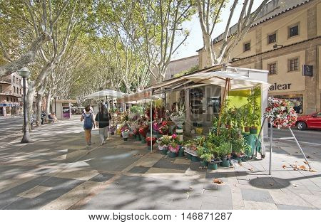 Flower Stands On La Rambla