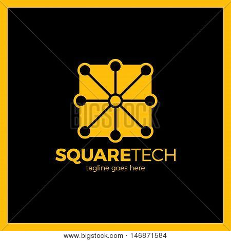 Simple Minimalistic Logotype. Box With Eight Tech Line Logo. Square Media Signal .