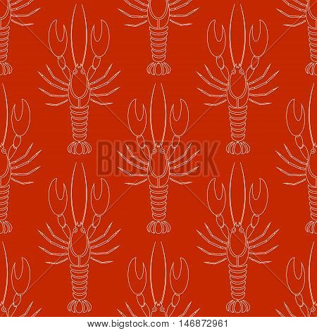Vector seamless pattern with crayfishes or lobsters silhouette in white color on red background. Simple flat design for textile fabric wrapping
