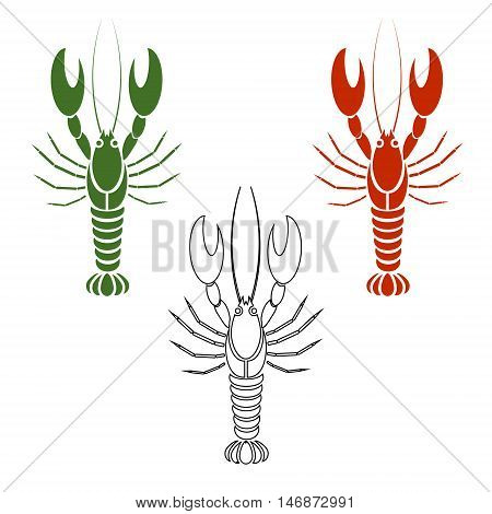 Vector set of crayfishes or lobsters in white red or orange green color. Coloring book. Simple flat design