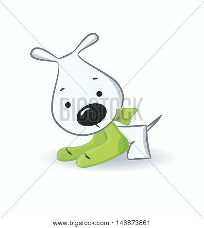Funny puppy vector illustration.Isolat ed on white