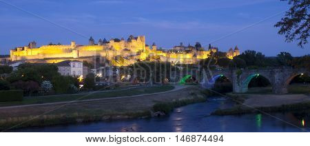 Carcassonne City At Night With Its Lights, France