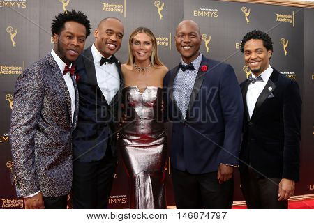 LOS ANGELES - SEP 11:  Sons of Serendip, Heidi Klum at the 2016 Primetime Creative Emmy Awards - Day 2 - Arrivals at the Microsoft Theater on September 11, 2016 in Los Angeles, CA