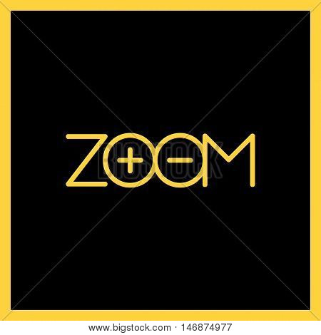 Zoom Logo T-shirt. Text Logotype Plus And Minus. Outline Style