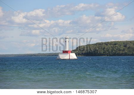 Round Island Passage Light, Round Island Channel in the Straits of Mackinac, Michigan