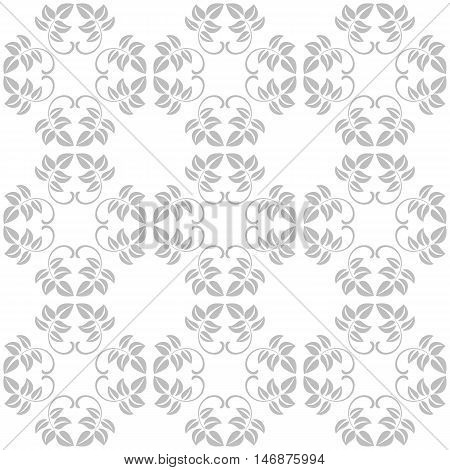 Seamless Pattern Of Leaves On A White Background. Vintage Style. The Pattern Can Be Used For Printin