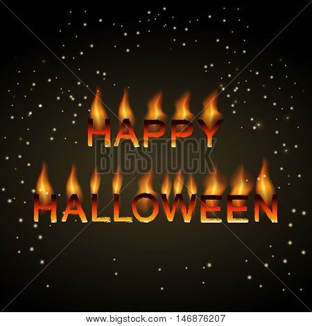 Happy Halloween background with sinister flaming letters. Vector illustration for celebration.
