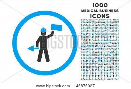 Builder With Shovel rounded vector bicolor icon with 1000 medical business icons. Set style is flat pictograms, blue and gray colors, white background.