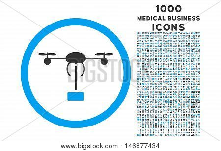 Copter Shipment rounded vector bicolor icon with 1000 medical business icons. Set style is flat pictograms, blue and gray colors, white background.